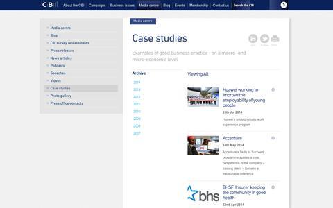 Screenshot of Case Studies Page cbi.org.uk - CBI: Case studies - captured Sept. 23, 2014