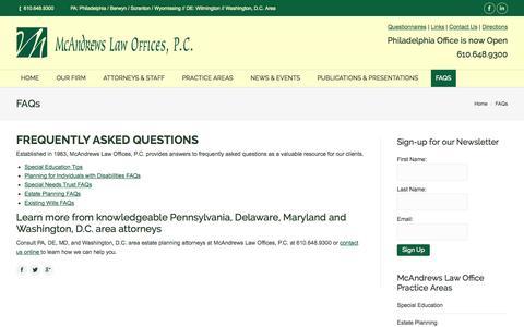Screenshot of FAQ Page mcandrewslaw.com - FAQs - McAndrews Law Firm - captured Oct. 27, 2014