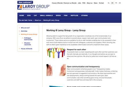 Screenshot of Jobs Page laroygroup.com - Working @ Laroy Group - Laroy Group - captured July 4, 2018