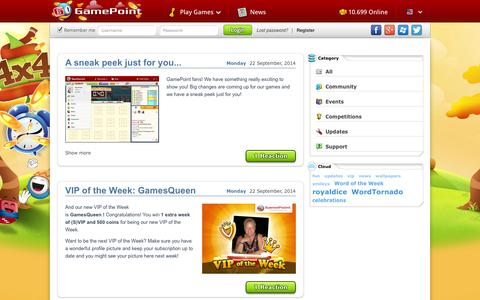 Screenshot of Press Page gamepoint.com - GamePoint, the multiplayer social gaming network - captured Sept. 25, 2014