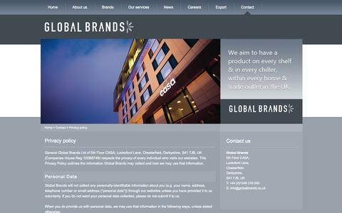 Screenshot of Privacy Page globalbrands.co.uk - Privacy policy | GlobalBrands.co.uk - captured Oct. 2, 2014