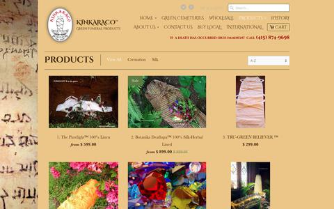 Screenshot of Products Page kinkaraco.com - Products | KINKARACO  ® Green Funeral Products - captured Oct. 16, 2017