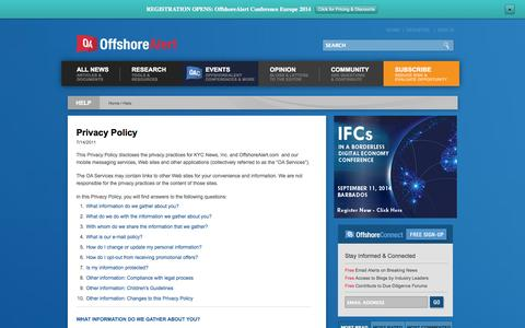 Screenshot of Privacy Page offshorealert.com - Privacy Policy - captured Sept. 23, 2014