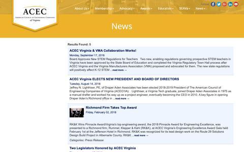 Screenshot of Press Page acecva.org - News - American Council of Engineering Companies of Virginia, VA - captured Oct. 2, 2018
