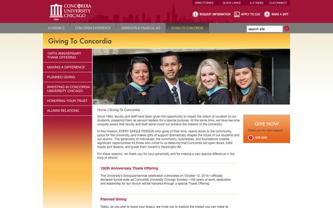 Screenshot of Support Page cuchicago.edu - Concordia University Chicago - Giving To Concordia - captured Sept. 23, 2014