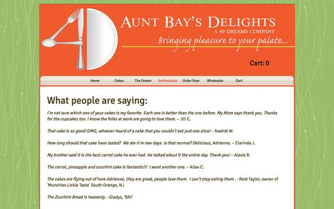 Screenshot of Testimonials Page 40dreams.com - Aunt Bay's Delights, Cakery, Bakery | Testimonials - captured Dec. 21, 2016