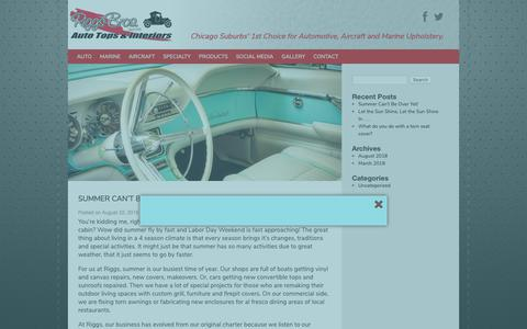 Screenshot of Blog riggsbros.com - Blog | Riggs Brothers | Chicago Suburbs' 1st Choice for Automotive, Aircraft and Marine Upholstery. - captured Oct. 18, 2018