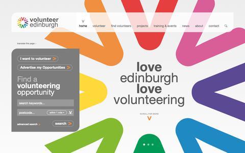 Screenshot of Home Page volunteeredinburgh.org.uk - home - Volunteer Edinburgh - captured Oct. 20, 2018