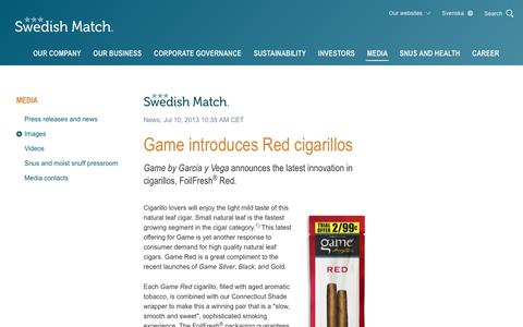 Screenshot of Press Page swedishmatch.com - Swedish Match - Game introduces Red cigarillos - captured Nov. 1, 2018