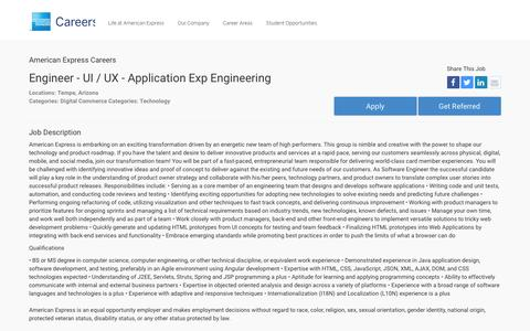 Screenshot of Jobs Page americanexpress.com - Apply For American Express Engineer - UI / UX - Application Exp Engineering job - Digital Commerce, Technology - Tempe, Arizona - captured Oct. 26, 2016