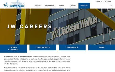 Screenshot of Jobs Page jw.com - Careers – Jackson Walker | Meet JW - captured Sept. 25, 2018