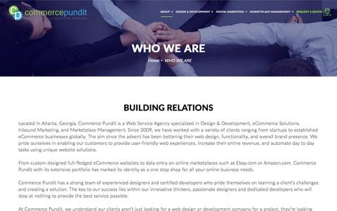 Screenshot of About Page commercepundit.com - About Commerce Pundit - eCommerce Web and Marketing Solution Provider - captured July 20, 2018