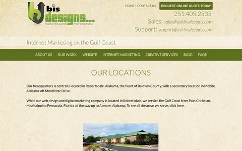 Screenshot of Locations Page askbisdesigns.com - BIS Designs > About Us > Locations - captured Nov. 21, 2016