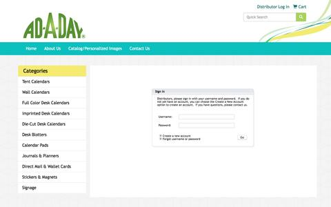 Screenshot of Login Page ad-a-day.com - Ad-A-Day - Distributor Log In - captured Nov. 20, 2016