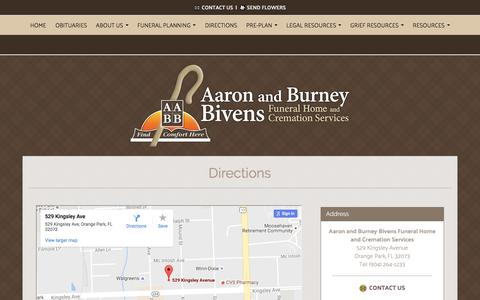 Screenshot of Maps & Directions Page bivensfuneralhome.com - Aaron and Burney Bivens Funeral Home and Cremation Services | Orange Park FL funeral home and cremation - captured Nov. 20, 2016