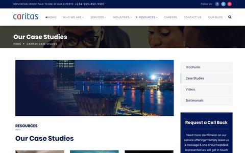 Screenshot of Case Studies Page caritaspr.com - Caritas Case Studies - Caritas PR - captured Nov. 10, 2018