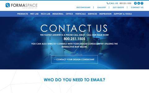 Screenshot of Contact Page formaspace.com - Contact us   Workbench - Industrial Furniture - Lab Bench   Formaspace - captured Oct. 11, 2018