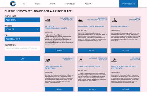 Screenshot of Jobs Page gamechangersus.com - Gamechangers | Jobs - captured July 17, 2017