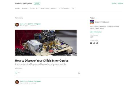 Screenshot of Blog makewonder.com - Parenting – Code in Kid Speak - captured March 2, 2017