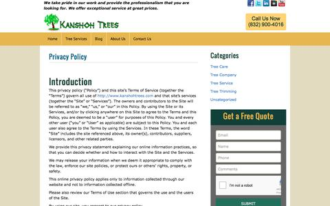 Screenshot of Privacy Page kanshohtrees.com - Privacy PolicyKanshoh Trees – Tree Service Houston TX | Kanshoh Trees - Tree Service Houston TX - captured Oct. 16, 2017