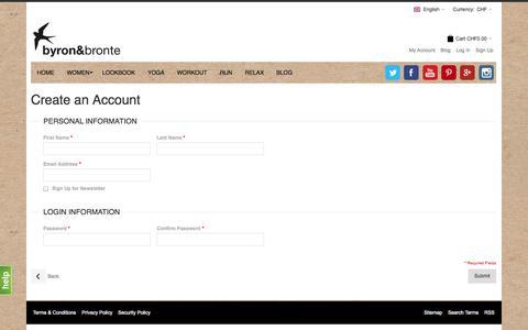 Screenshot of Signup Page byronandbronte.com - Create New Customer Account - captured Oct. 5, 2014