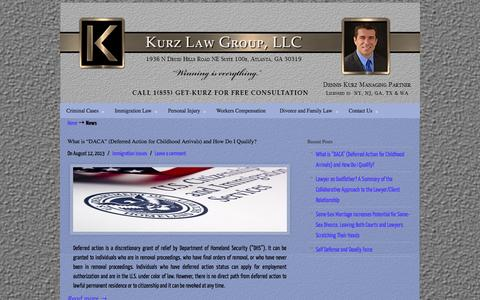 Screenshot of Press Page kurzlawgroup.com - News - Atlanta Criminal, Immigration, Personal Injury, Workers Comp, Family Law | Kurz Law Group, LLC - captured Oct. 6, 2014