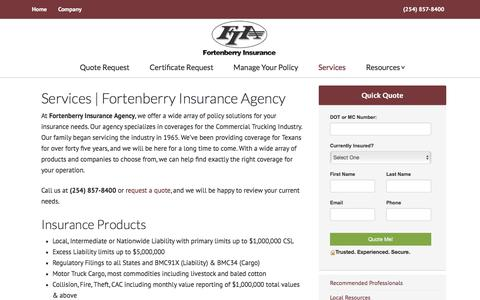 Screenshot of Services Page fortenberryinsurance.com - Services | Fortenberry Insurance Agency | Fortenberry Insurance Agency - captured Oct. 14, 2017