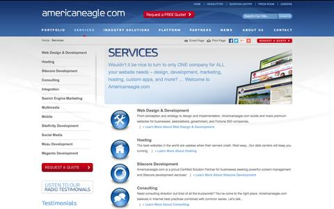 Screenshot of Services Page americaneagle.com - Professional Website Design, Custom Web Development, Hosting Services | Americaneagle.com - captured Oct. 10, 2014