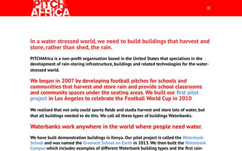Screenshot of Home Page pitch-africa.org - PITCHAfrica | Rain Loves Football - captured July 15, 2018