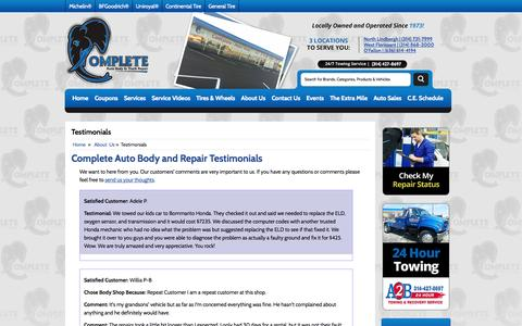 Screenshot of Testimonials Page completeab.com - Testimonials Complete Auto Body & Truck Repair - captured Oct. 27, 2014