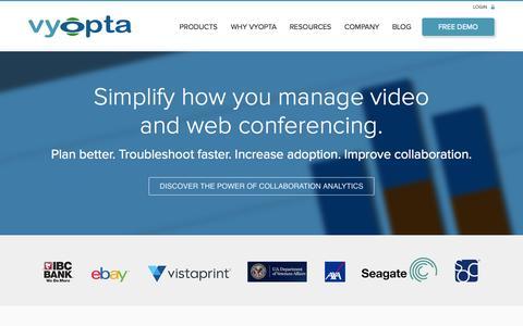 Screenshot of Home Page vyopta.com - Vyopta | Collaboration Analytics - captured Aug. 11, 2015