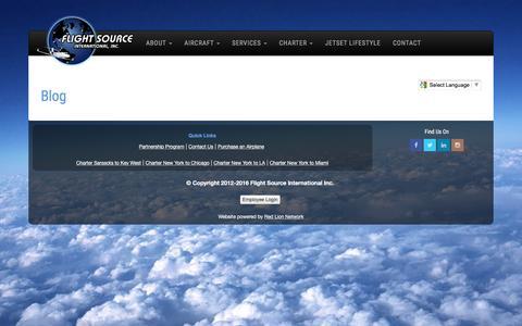 Screenshot of Blog flightsource.com - Flight Source International - Aircraft Sales - captured Nov. 25, 2016