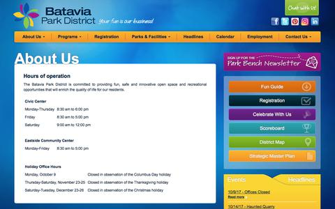 Screenshot of Hours Page bataviaparks.org - Batavia Park District > About Us > Hours of Operation - captured Oct. 10, 2017