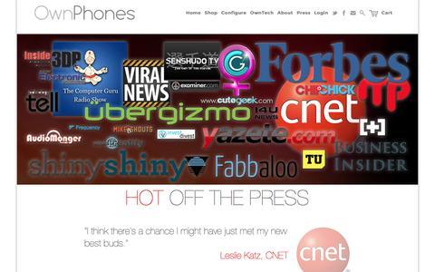Screenshot of Press Page ownphones.com - Press - captured Aug. 29, 2016