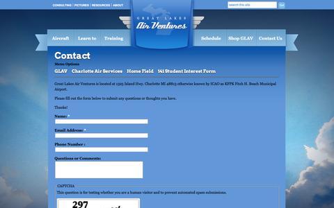 Screenshot of Contact Page greatlakesairventures.com - Contact   Great Lakes Air Ventures - captured Sept. 30, 2014