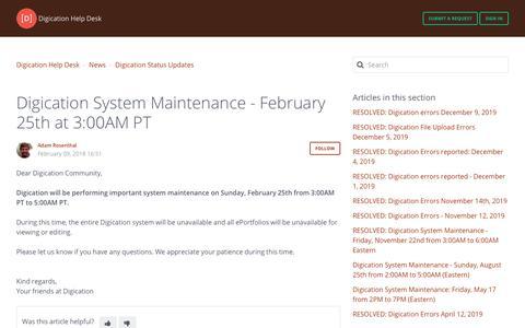 Screenshot of Support Page digication.com - Digication System Maintenance - February 25th at 3:00AM PT – Digication Help Desk - captured Jan. 8, 2020