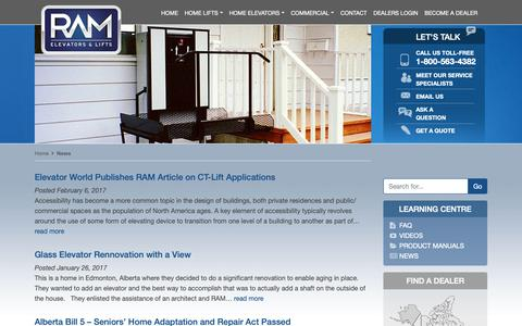 Screenshot of Press Page trustram.com - Ram Manufacturing News | Vertical Platform Lifts | Wheelchair Elevators - captured Oct. 18, 2018
