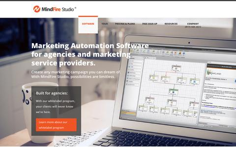 Screenshot of Home Page mindfirestudio.com - Multi-Channel Marketing Automation Software - MindFire Studio - captured Oct. 7, 2014