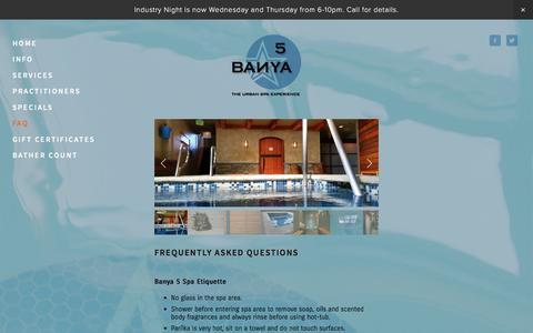 Screenshot of FAQ Page banya5.com - FAQ — Banya 5 - captured Feb. 7, 2016