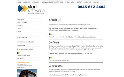 Screenshot of About Page start-software.com - About Us - Start Software - Software Development Services - captured Oct. 1, 2014