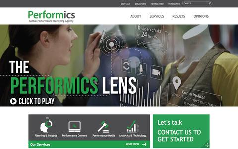 Screenshot of Home Page performics.com - The Performance Marketing Agency- Paid Search, Local, SEO, Mobile, Social | Performics - captured Oct. 23, 2015