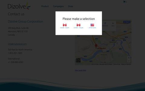 Screenshot of Contact Page mydizolve.com - Contact us | My Dizolve - captured Jan. 15, 2016