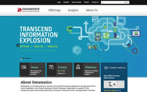 Screenshot of Home Page datamatics.com - Global IT Services, IT Solutions, IT Consulting Company - Datamatics - captured Oct. 10, 2014