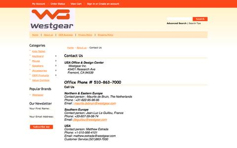 Screenshot of Contact Page westgear.com - Contact Us - captured Oct. 7, 2014