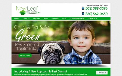 Screenshot of Home Page newleafpestcontrol.com - Pest Control Vancouver, WA and Portland, OR | New Leaf Pest Control - captured Jan. 10, 2016