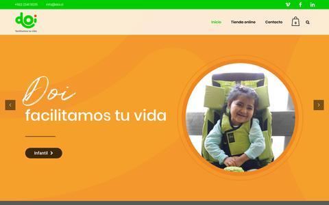 Screenshot of Home Page doi.cl - Doi, Facilitamos tu vida, Soluciones para la discapacidad – Soluciones para la discapacidad, productos para rehabilitacion, control postural - captured Oct. 9, 2018