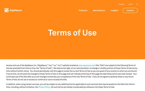 Screenshot of Terms Page appnexus.com - Terms of Use | AppNexus - captured June 15, 2018