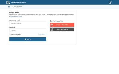 Screenshot of Login Page quickblox.com - QuickBlox Admin Panel - captured Oct. 1, 2015
