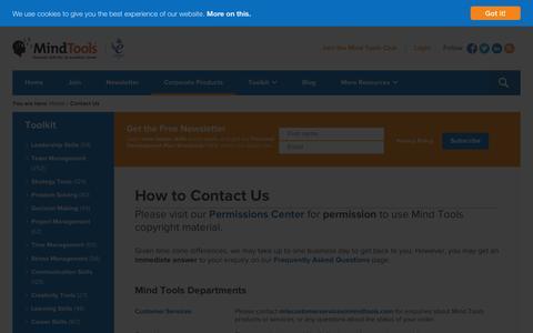 Screenshot of Contact Page mindtools.com - Contact Mind Tools - captured Jan. 13, 2016