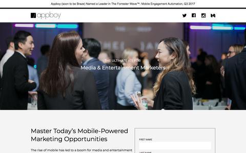 Screenshot of Landing Page appboy.com - Mastering Mobile Media Marketing | Appboy - captured Nov. 12, 2017